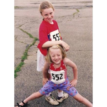 Amelia and Hannah at an early race.