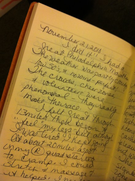 My journal entry for race day.