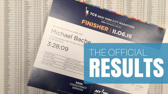 My Official TCS New York City Marathon Results
