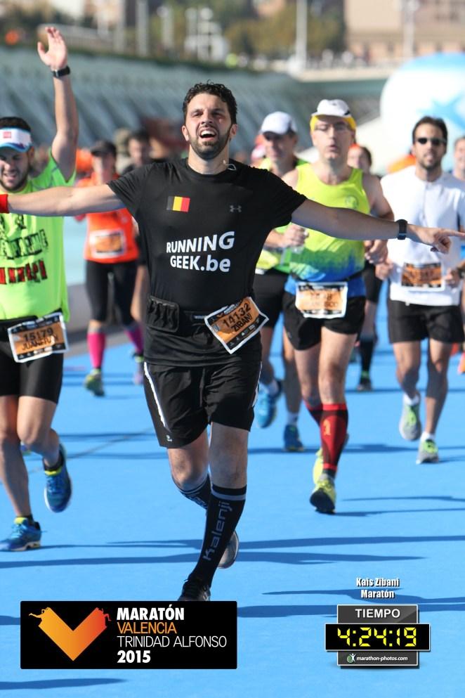À l'arrivée de ce mythique marathon de Valence, quelque peu éreinté.