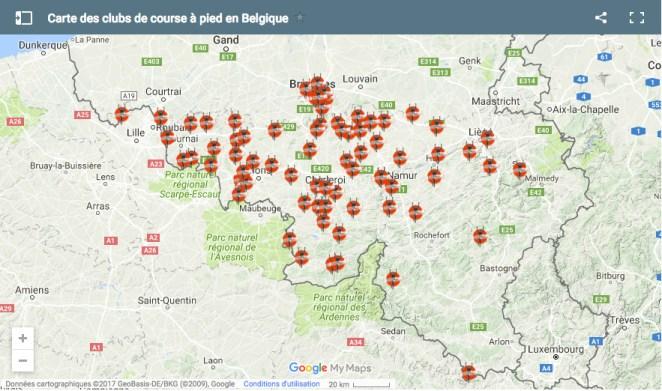 Carte des clubs de course à pied en Belgique
