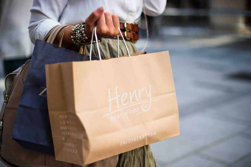 Happy shopper with bags