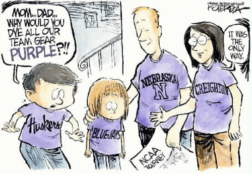 Divided loyalties of Creighton & Nebraska fans. Creighton blue and Nebraska red make TCU purple! Jeffrey Koterba cartoon of March 19-Omaha World-Herald