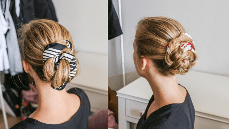 How to Wear a Hair Scarf, tips featured by top US beauty blog, Running in Heels: twisted bun styles