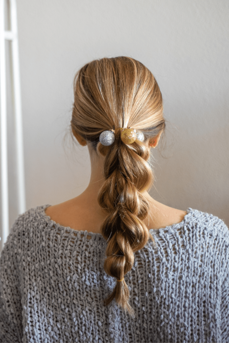 4 Cute Holiday Hair Accessories to Wear in Your Braids, hair tutorial featured by top Dallas beauty blogger, Running in Heels: mini ornaments