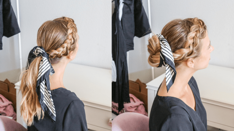 How to Wear a Hair Scarf, tips featured by top US beauty blog, Running in Heels: side braid into updos