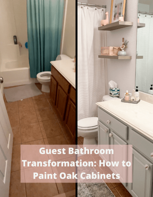 Guest Bathroom Makeover Project: How to Paint Oak Cabinets featured by top Dallas lifestyle blogger, Running in Heels