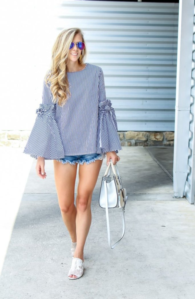 Why wear long sleeves in the Summer, tips featured by top Dallas fashion blogger, Running in Heels: image of a woman wearing a striped bell sleeve top