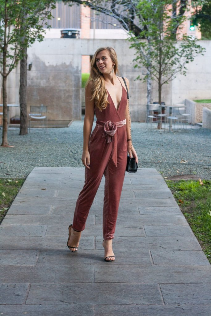 e80f5888b5c8 Pink Velvet Jumpsuit  Every Girl Needs One this Fall - Running in Heels