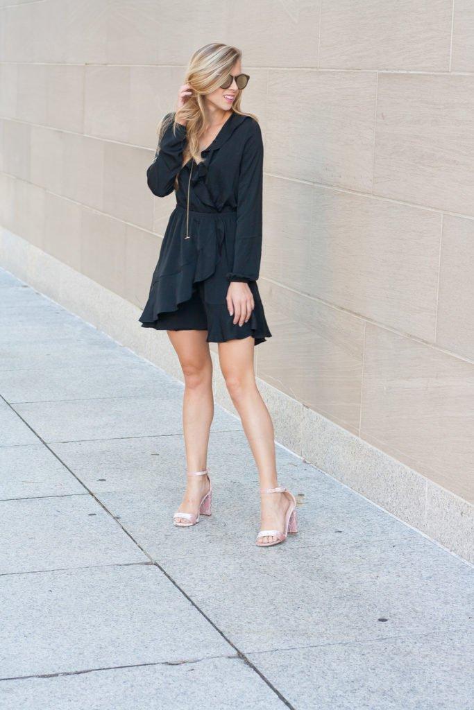 Ruffle wrap dress for Date Night | Running in Heels