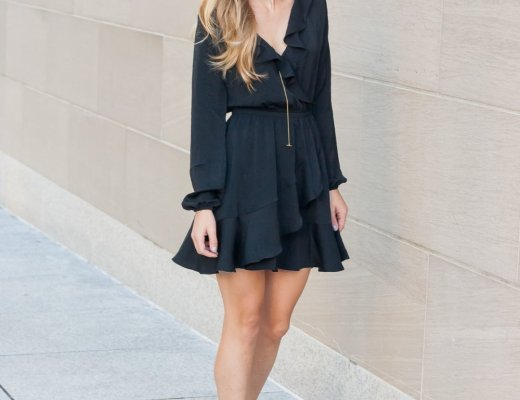 Ruffle wrap LBD for Date Night | Running in Heels