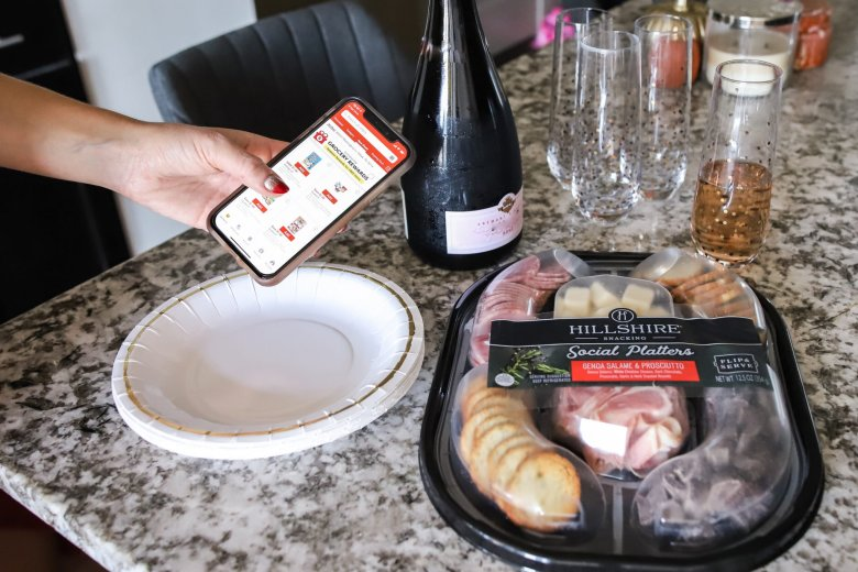 Hosting Tips for the Best Friends Holiday Party, try a Hillshire Farm snacking platter via the Tom Thumb app feature by top US fashion and lifestyle blogger Running in Heels
