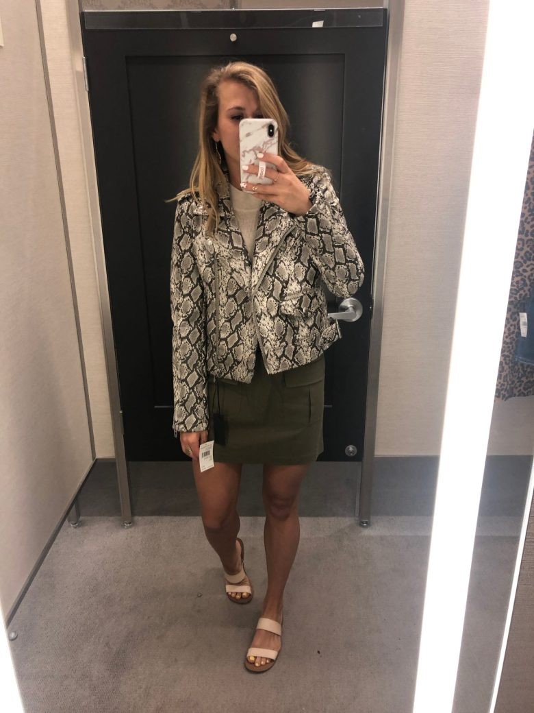 Nordstrom Anniversary Sale trends featured by top US fashion blog, Running in Heels: unstructured jackets: animal prints - image of a woman wearing a snakeskin print jacket