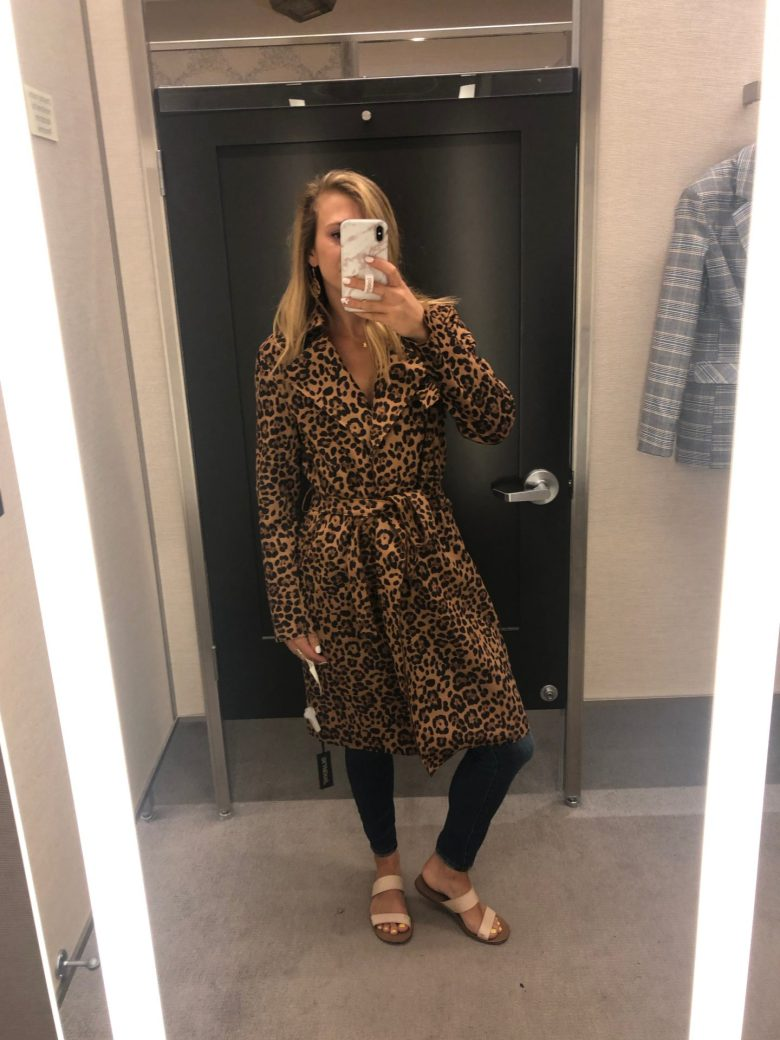 Nordstrom Anniversary Sale trends featured by top US fashion blog, Running in Heels: unstructured jackets: animal prints - image of a woman wearing a leopard print trench coat