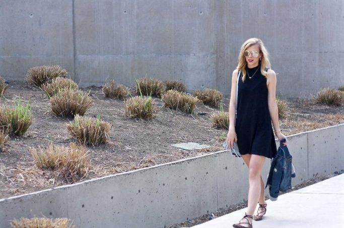 Knit Dress and Lace-Up Flats