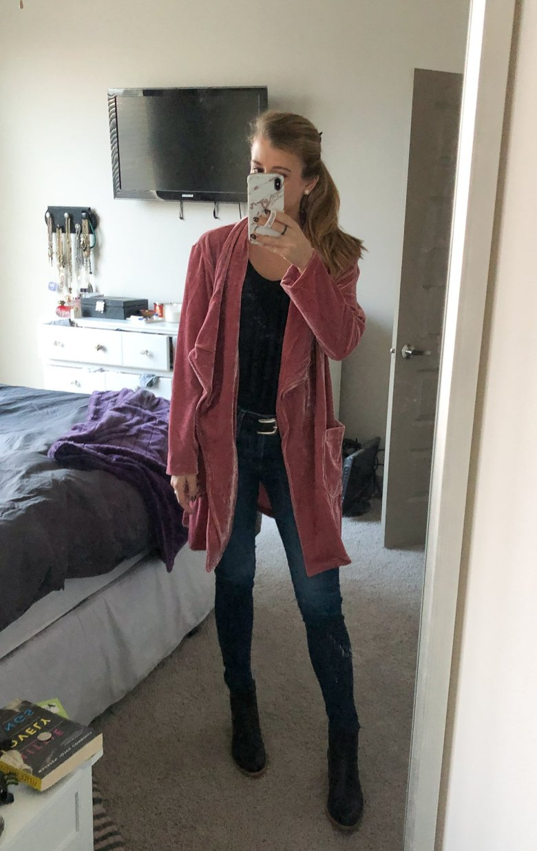 Everyday Outfits | What I Wore 12.8-12.14 | Outfit showing mauve velvet jacket from Amaryllis Apparel, a black cami, J Brand jeans, and Italeau black leather boots.  featured by top US fashion blogger Running in Heels