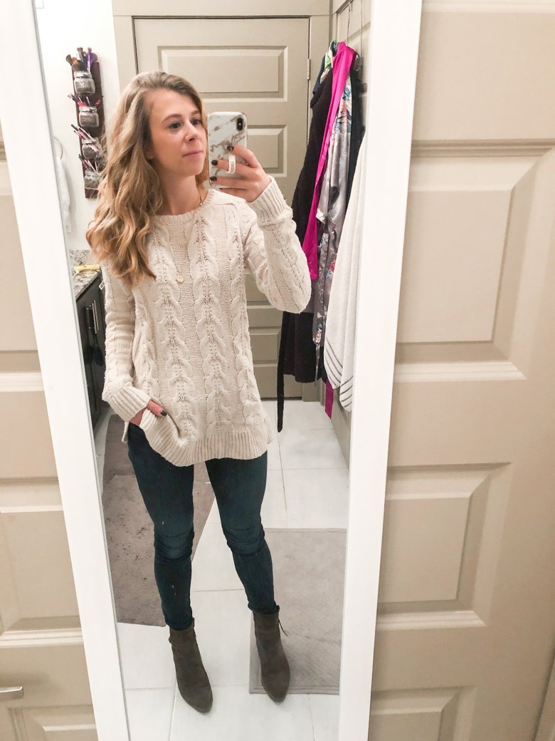 Cable knit sweater, jeans, and Italeau Donata booties by Top US fashion and lifestyle blogger Running in Heels