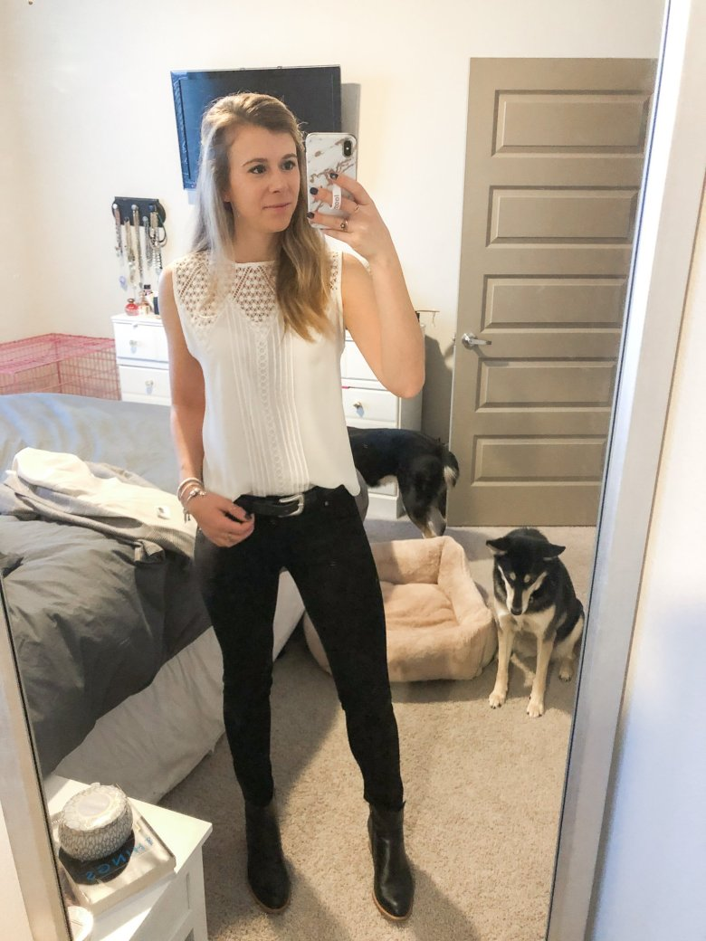Black and white workwear look | white Express top, furry Banana Republic cardigan sweater, and DL 1961 black jeans with black leather booties by Top US fashion and lifestyle blogger Running in Heels