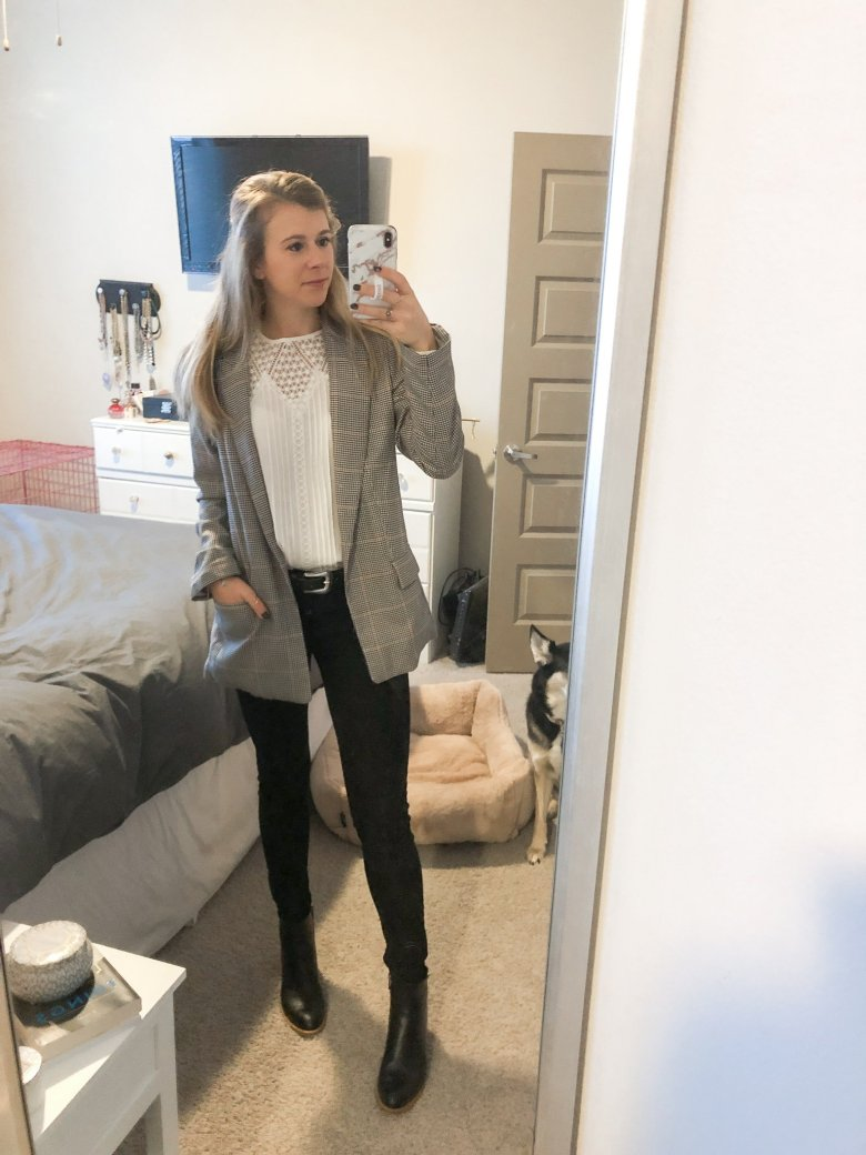 Black and white workwear look | white Express top, furry H&M blazer, and DL 1961 black jeans with black leather booties by Top US fashion and lifestyle blogger Running in Heels