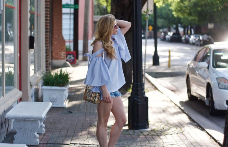 Why wear long sleeves in the Summer, tips featured by top US fashion blog, Running in Heels: image of a woman wearing big bell sleeves on chicwish top