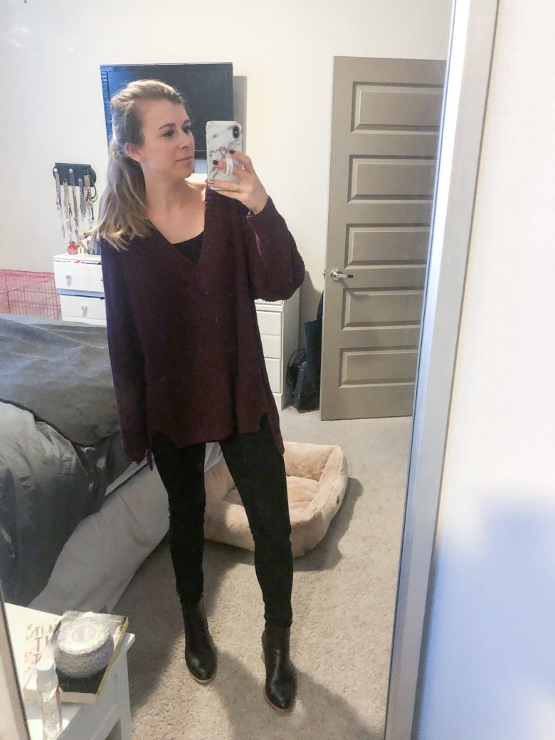 Purple oversized Vneck sweater with black DL1961 jeans and Italeau booties featured by Top US life and style blogger Running in Heels.