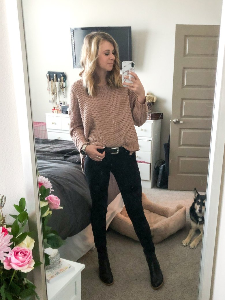 Top US fashion and lifestyle blogger, Running in Heels wears Altar'd State chenille sweater with DL 1961 Emma black jeans and Italeau black leather booties.