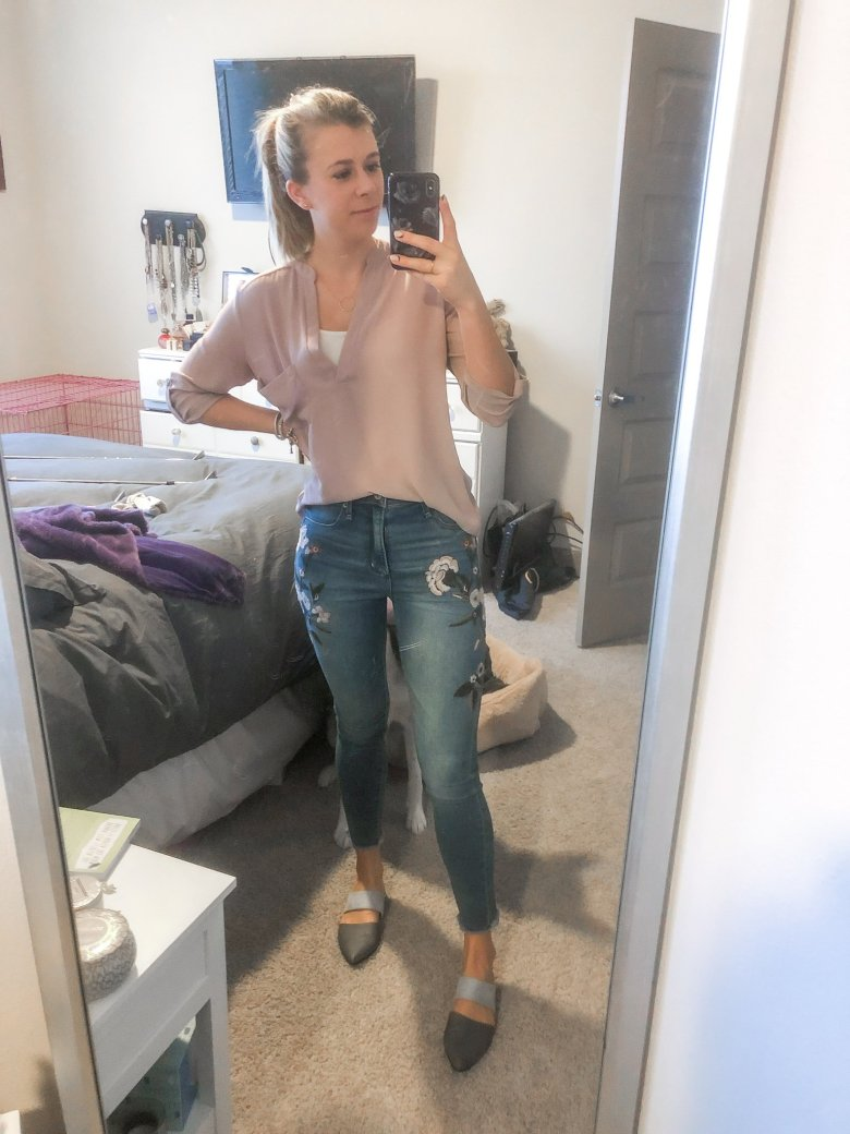 Top US fashion and lifestyle blogger, Running in Heels wears Nordstrom Lush tunic top with Embroidered jeans and Journee mules.