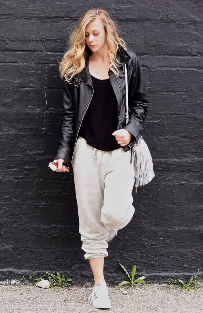 How not to look frumpy in sweats: joggers and leather