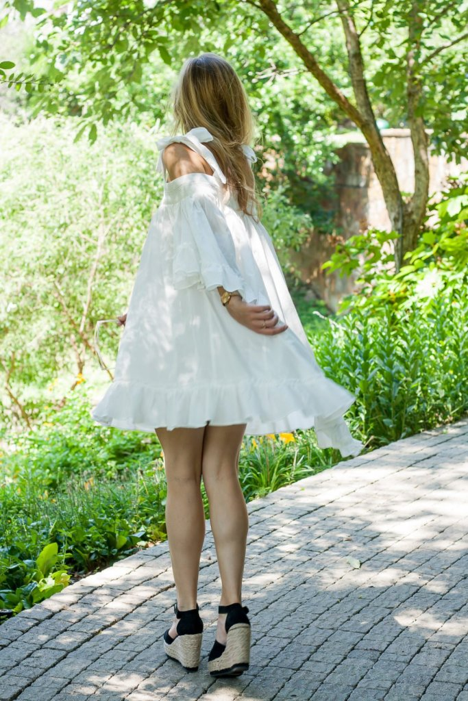 White Flowy Ruffle Dress