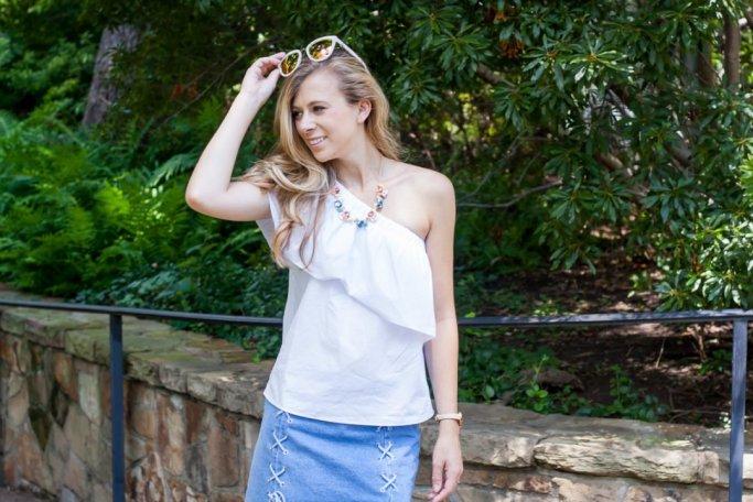 Lace-up denim skirt