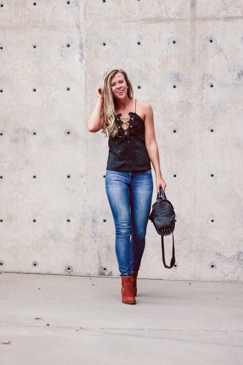 Lace-Up Cami Comparison | Running in Heels | Blonde wearing lace-up cami from Amazon in black