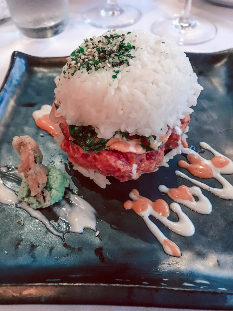 Where to eat in NYC featured by top US travel blog, Running in Heels: image of Redeye Grill sushi burger