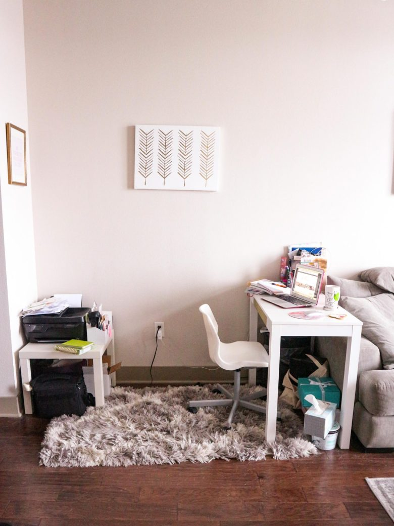 7 Ways to Make the Most of Your Small Home Office Space | Running in Heels | I didn't have much of a choice on size of my home office, but I made the most of my small space, this is the before! Click to read my other tips for making the most of your small space!