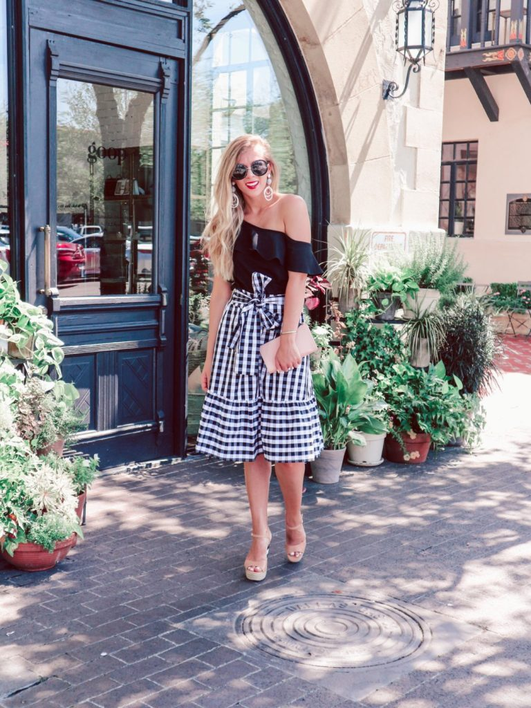 7acbcb3de4 Gingham Midi Skirt & Ruffle Top from J.Crew Factory, Kate Spade wedges and