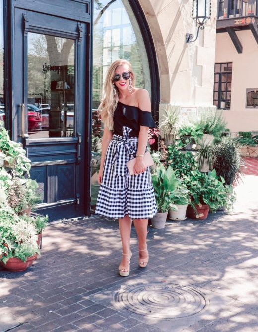 Gingham Midi Skirt & Ruffle Top from J.Crew Factory, Kate Spade wedges and clutch with round sunglasses