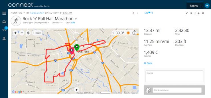 Garmin Connect half marathon map