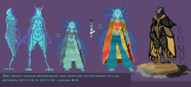 Owl Spirit design progression and adaption to different styles