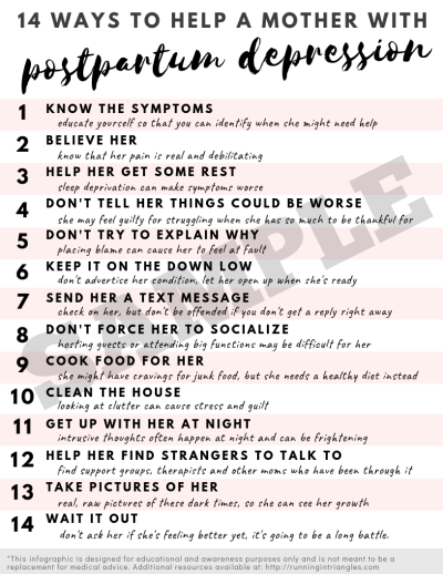 Ways to Help a Mother with Postpartum Depression Etsy Printable