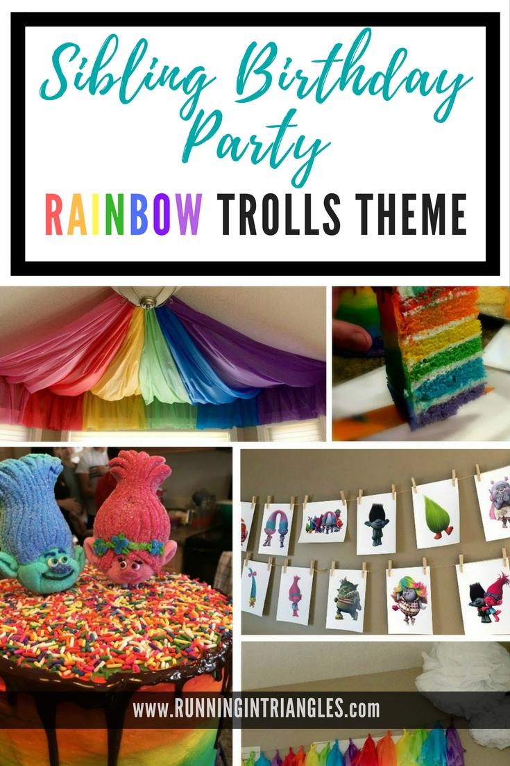 Dreamworks Trolls themed birthday party for three kids