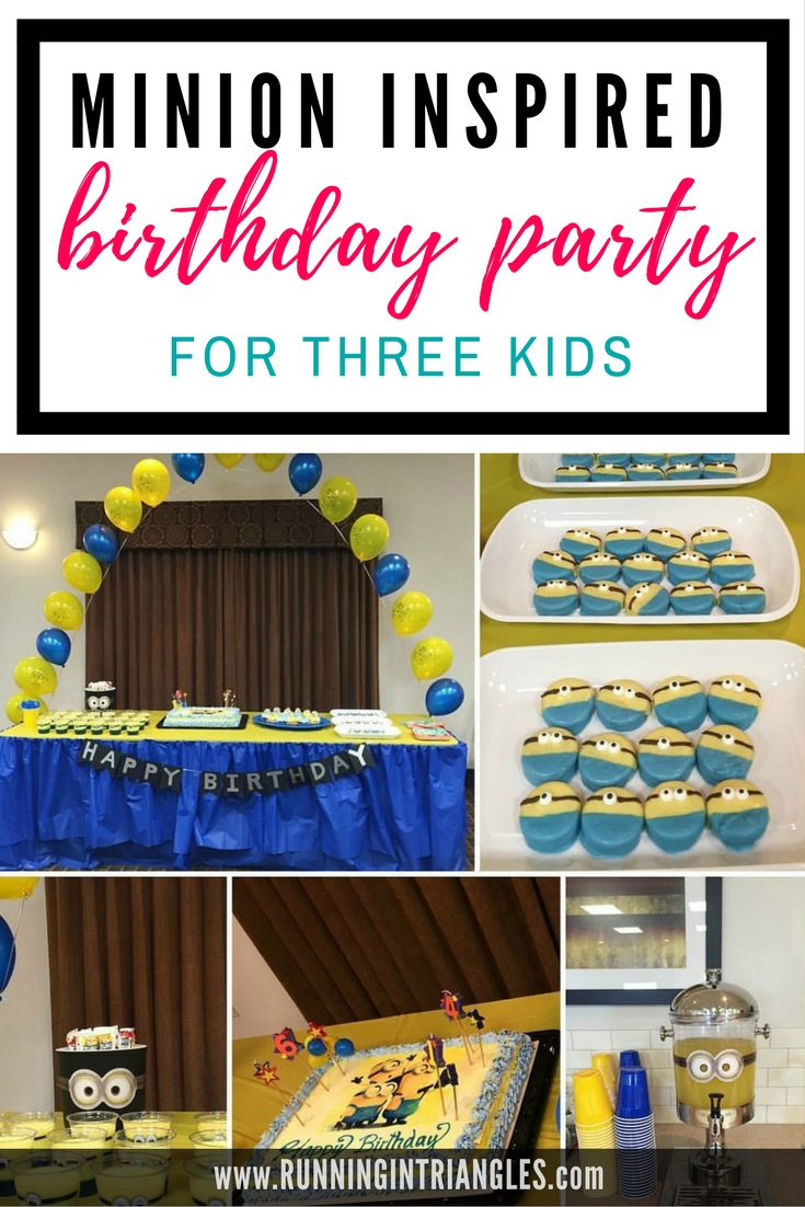 Minion Themed sibling birthday party for three kids