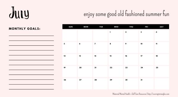 July 2020 Mental Health Calendar