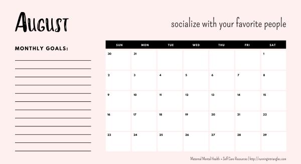 August 2020 Mental Health Calendar