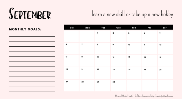 September 2020 Mental Health Calendar