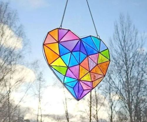 Rainbow Heart Suncatcher.