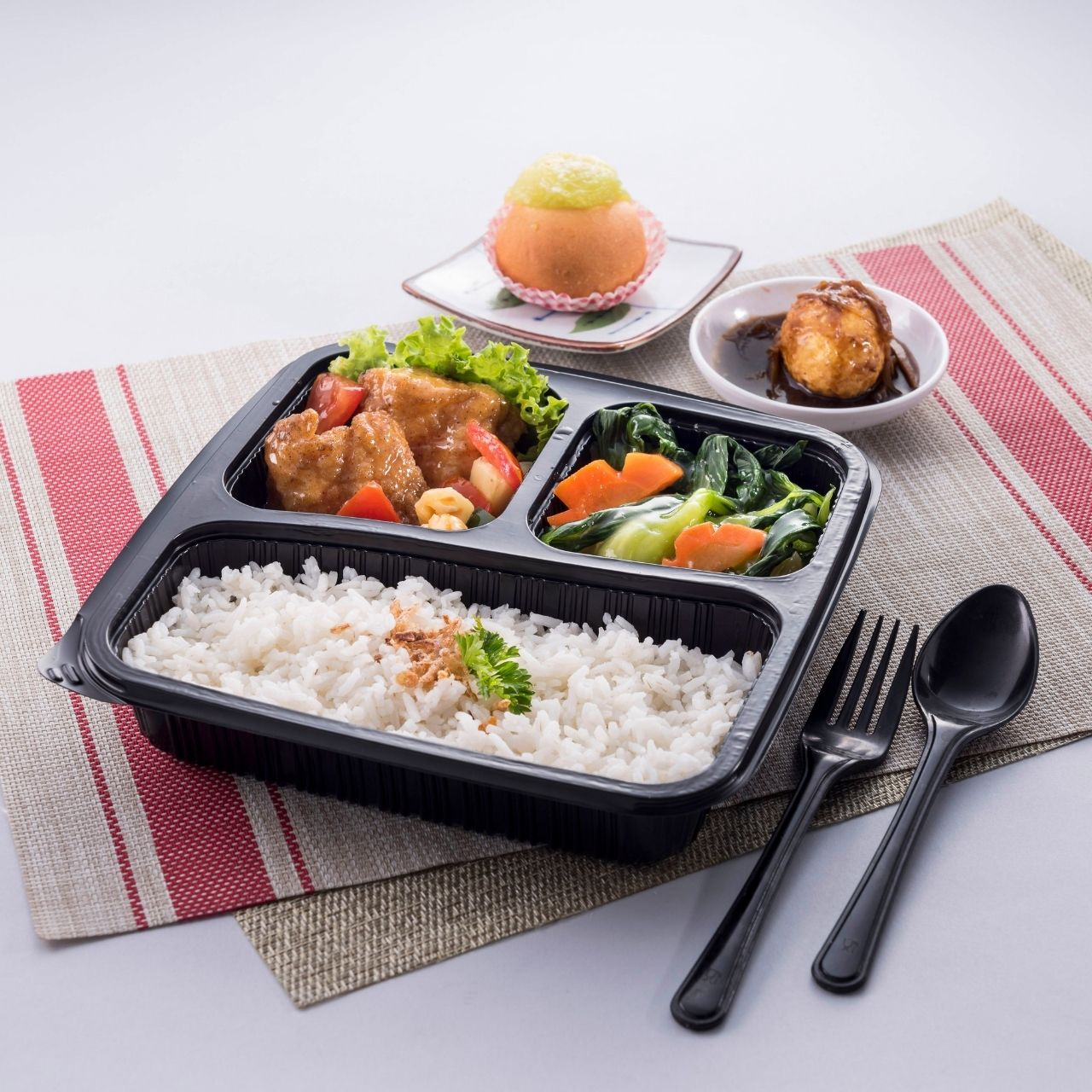 runningmen catering bento box sweet and sour fish with steam rice