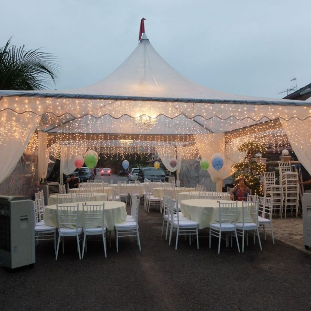 runningmen catering pre-wedding event footage with beautiful white triangle canopy