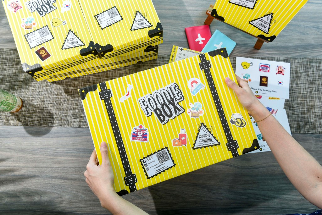 runningmen catering foodie box travel theme packaging with luggage styled foodie box