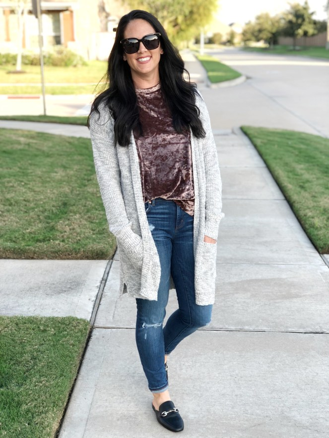 velvet trend, fall trends, easy fall outfit, perfect for layering