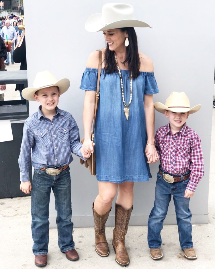 8376facb8f37 A chambray dress is another spring staple that can be easily styled for a  rodeo event.