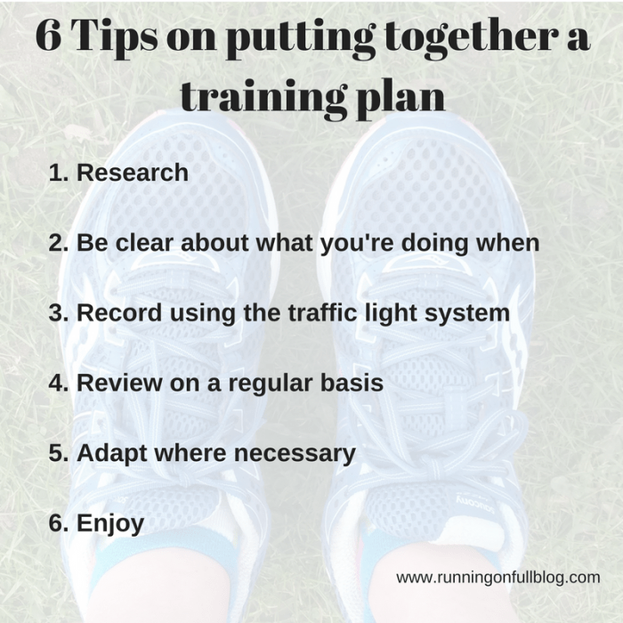 tips on training plan
